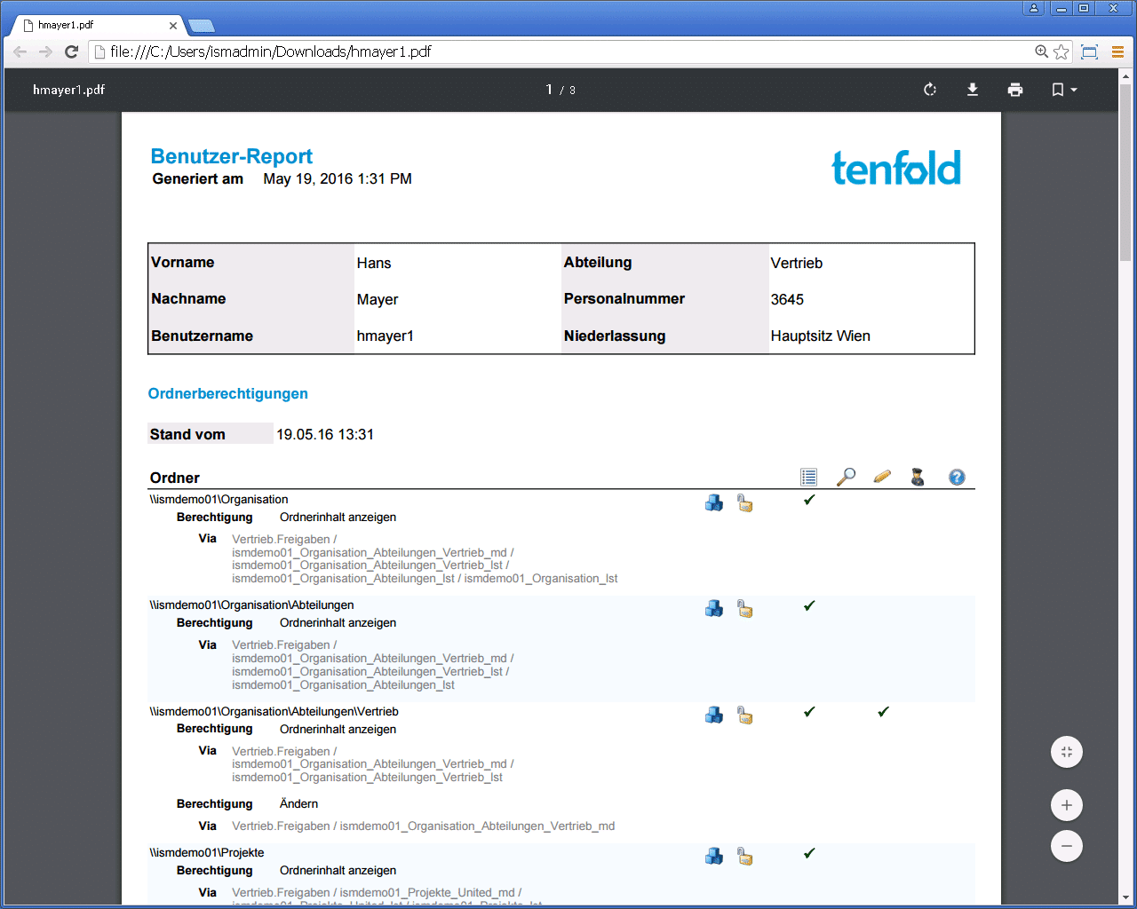 tenfold User Report im .pdf-Format