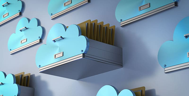Illustration of secure cloud storage for critical, sensitive or personal data.