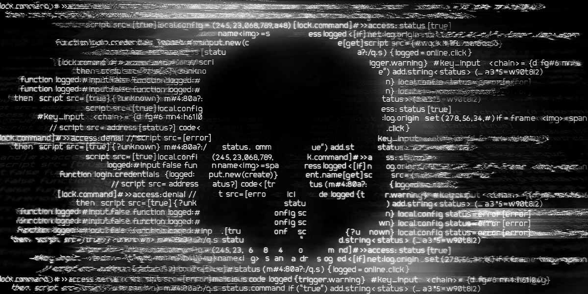 Code mit Ransomware auf einem Computerbildschirm. Ransomware-Schutz.