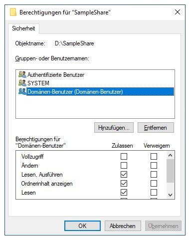 Screenshot NTFS Berechtigungen