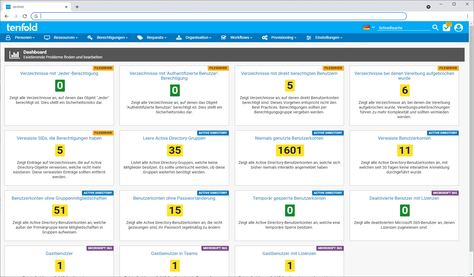 Screenshot der Benutzeroberfläche der IAM Software tenfold, auf dem das Dashboard zu sehen ist, das File Server und Active Directory Probleme zusammenfasst und behebt.