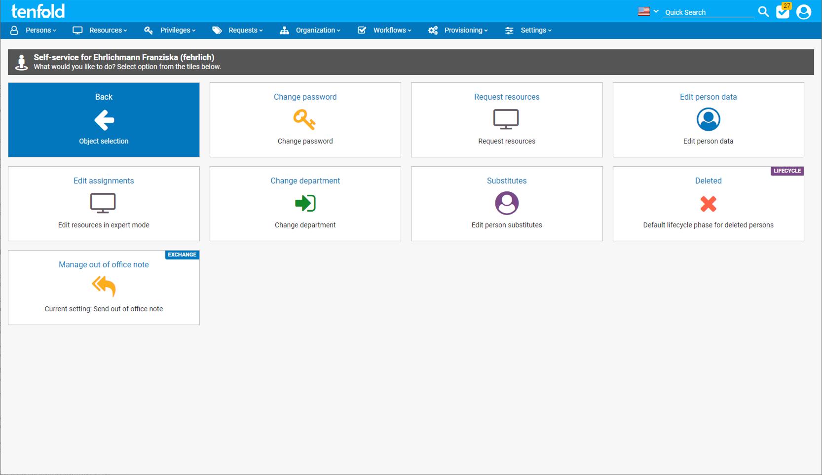 Screenshot of tenfold's self service interface.