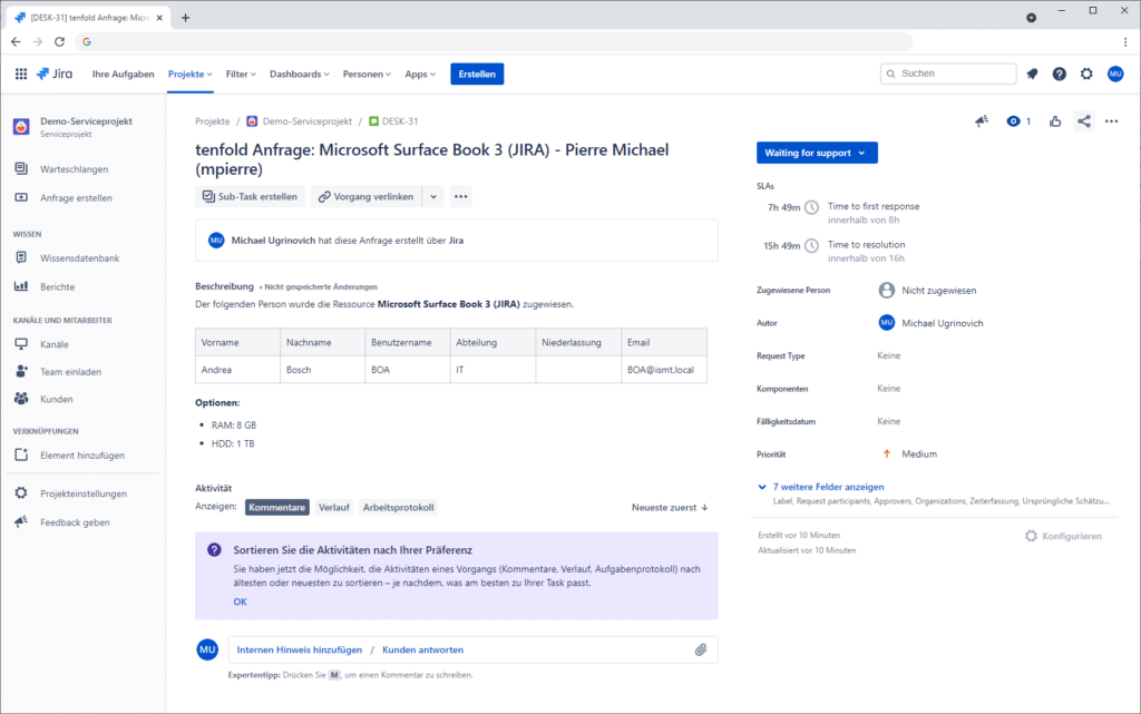 If a task is closed in Jira, this task is replicated in tenfold and the respective resource is marked as assigned.