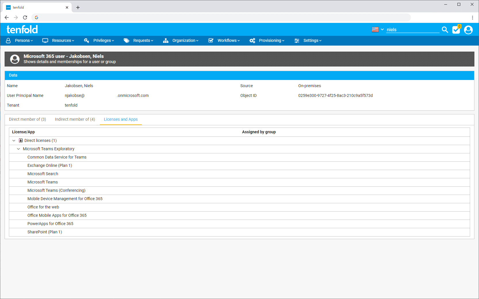 Screenshot of the IAM software tenfold's user interface. It shows the screen where you can view details and memberships of individual users or groups.