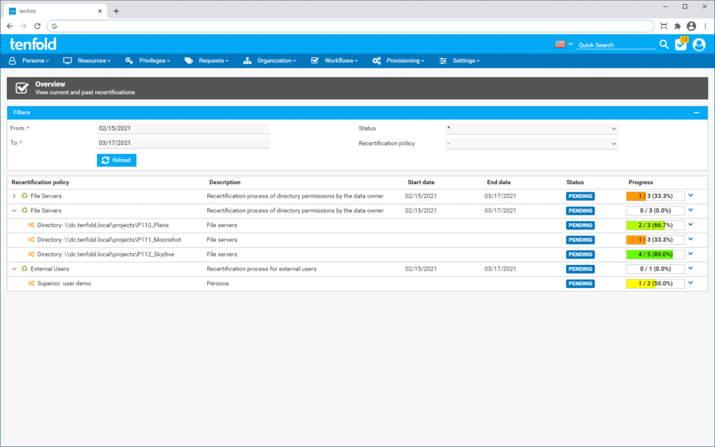 Screenshot illustrating the recertification process in the IAM software tenfold's user interface.