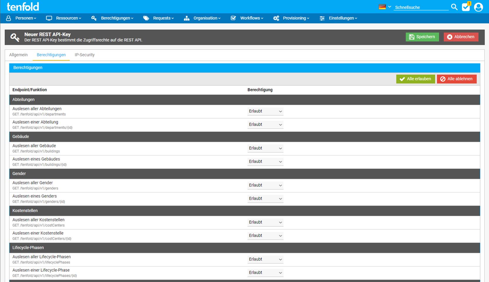 Screenshot der Benutzeroberfläche der IAM Software tenfold, auf dem die Maske für die REST API Schnittstelle zu sehen ist.