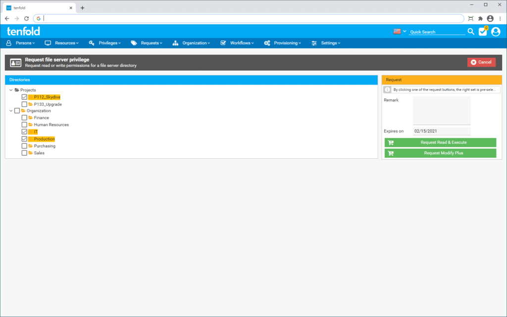 Screenshot of the IAM software tenfold's user interface, showing the self-service portal through which users can request IT resources.