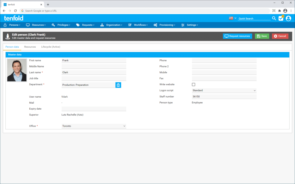 Screenshot of the IAM software tenfold's user interface, depicting the user lifecycle management screen.