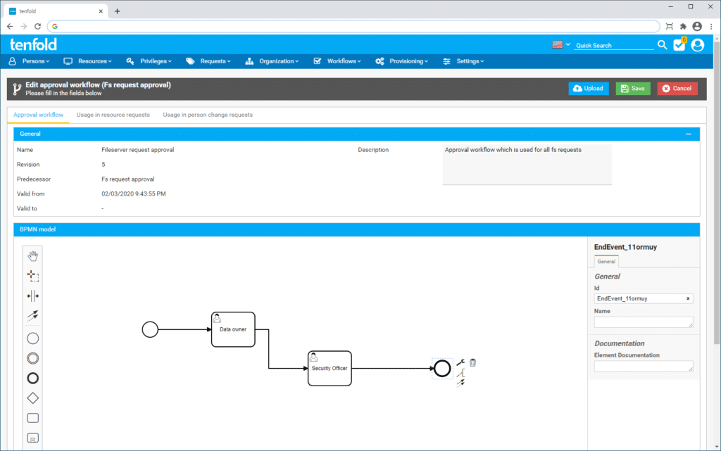 Screenshot depicting the access management software tenfold's user interface. The image shows how an individual workflow can be set up in tenfold with only a few clicks. The workflow then runs automatically.